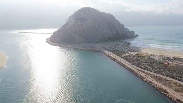 Flight from the Great Morro Rock Royalty Free Stock Drone Video Footage
