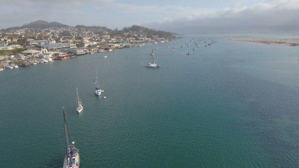 Flight Along Morro Harbor, California Royalty Free Stock Drone Video Footage