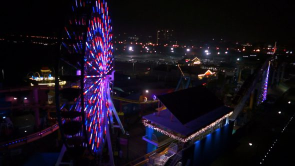 Ferris Wheel Circling Royalty Free Stock Drone Video Footage