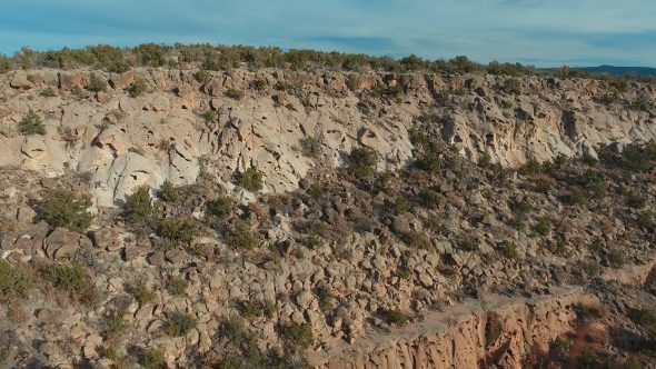 Flight Approaching the New Mexico Canyon Cliffs Royalty Free Stock Drone Video Footage