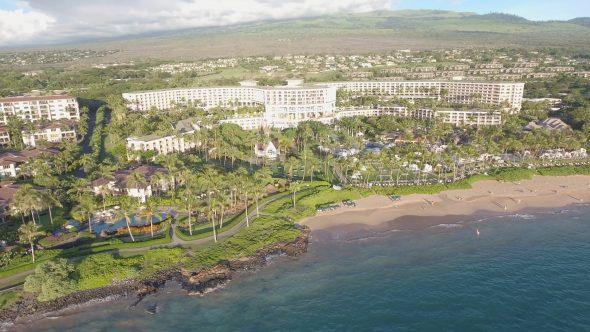 Maui Wailea Beach Resort 8 Royalty Free Stock Drone Video Footage