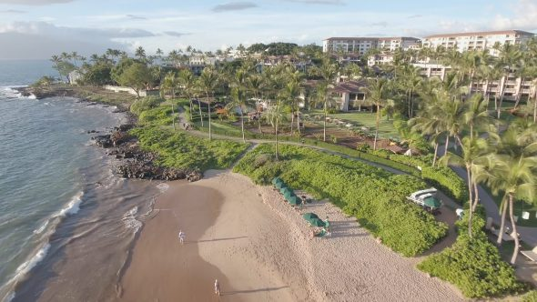 Maui Wailea Beach Resort 10 Royalty Free Stock Drone Video Footage