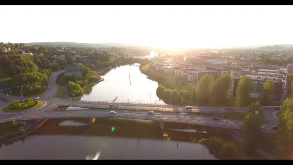 Sunset view over a River in Oslo Norway Royalty Free Stock Drone Video Footage
