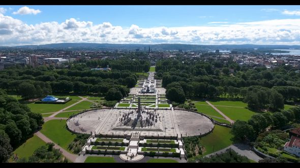 The Landscape and Monolith of Frognerparken Royalty Free Stock Drone Video Footage