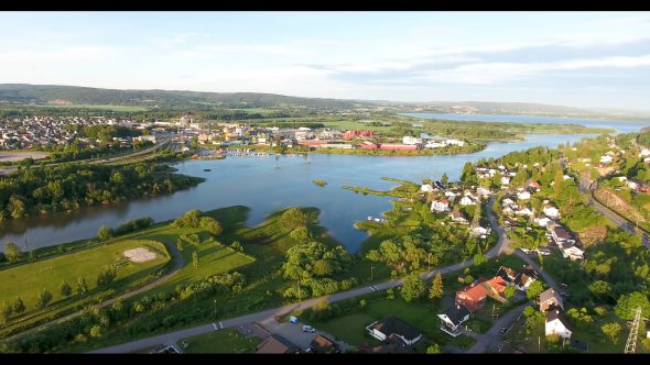 Panoramic Flight Above Oslo's Green Landscape Royalty Free Stock Drone Video Footage