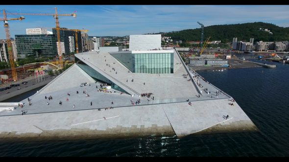 The Architecture of the Oslo Opera House Royalty Free Stock Drone Video Footage