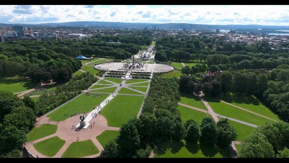 The Outskirts of Frognerparken Royalty Free Stock Drone Video Footage