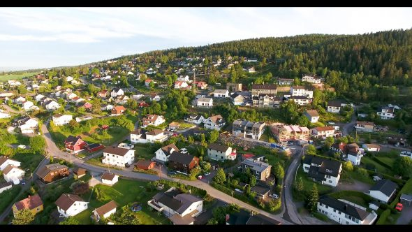 Flight Above the Countryside Homes of Oslo Norway Royalty Free Stock Drone Video Footage
