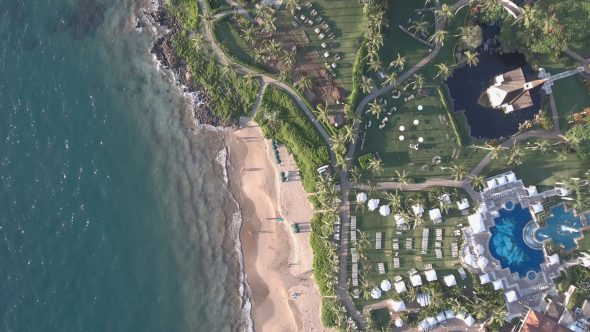 Maui Wailea Beach Resort 16 Royalty Free Stock Drone Video Footage