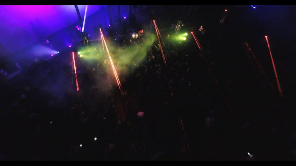 Aerial, flashing lights at Cinespia in Hollywood