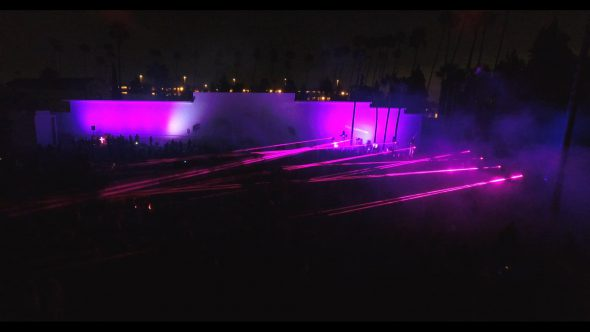 Aerial, Cinespia flashing lights in Hollywood