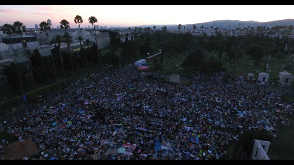Cinespia film festival in downtown Hollywood, aerial