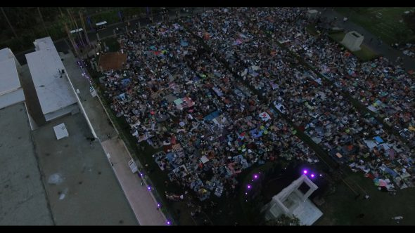 Cinespia film festival in Hollywood, panning aerial Royalty Free Stock Drone Video Footage