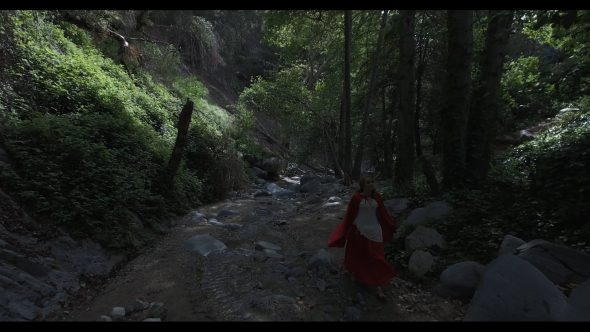 Aerial, woman in red shawl walks down path in forest