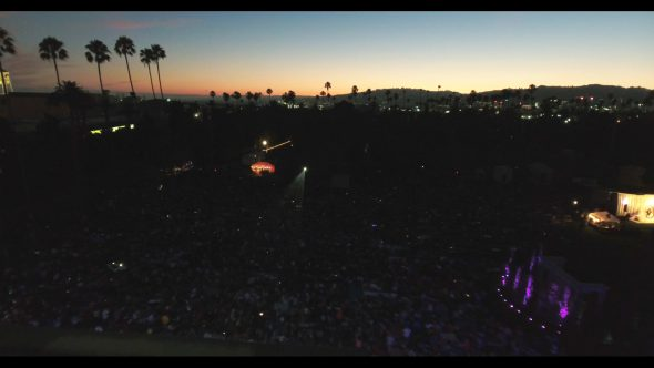 Cinespia film festival in Hollywood, wide aerial