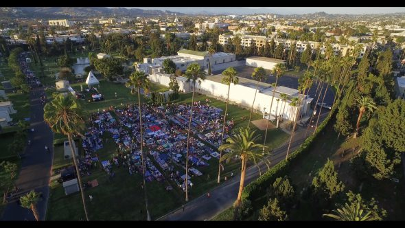 Crowd in cemetery for Cinespia film festival in Hollywood, aerial