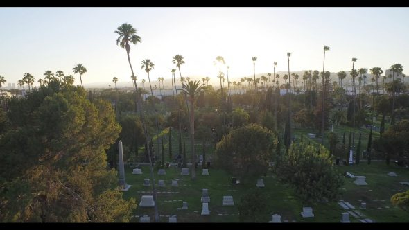 Cinespia film festival in Hollywood cemetery, aerial