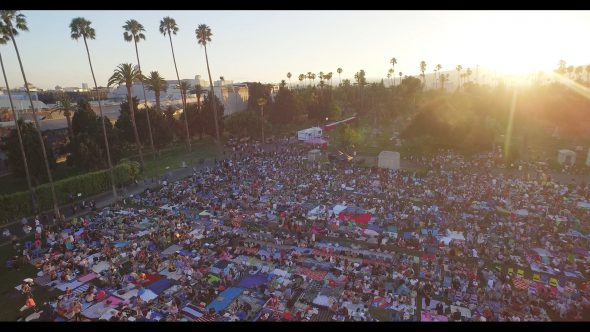 Sunset over Cinespia film festival in Hollywood, aerial