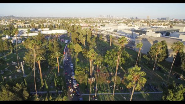 People gather outside of Cinespia film festival in Hollywood, aerial