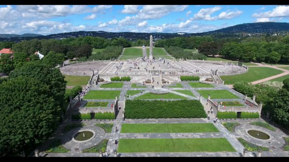 Forward Flight to the Monolith of Frogparken Royalty Free Stock Drone Video Footage