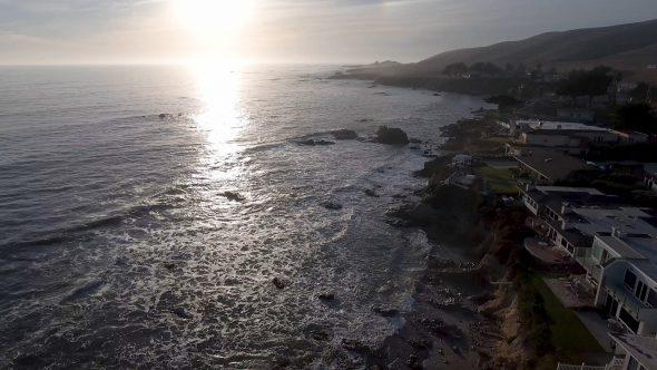 Forward flight along the Cayucos, California Shoreline at Sunset 3