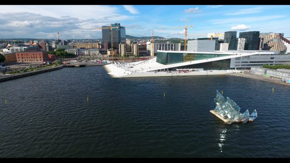 The Opera House from the Bay Royalty Free Stock Drone Video Footage