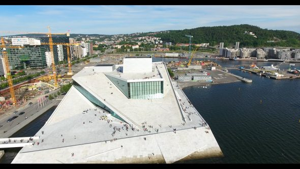 The Cityscape and The Oslo Opera House Royalty Free Stock Drone Video Footage