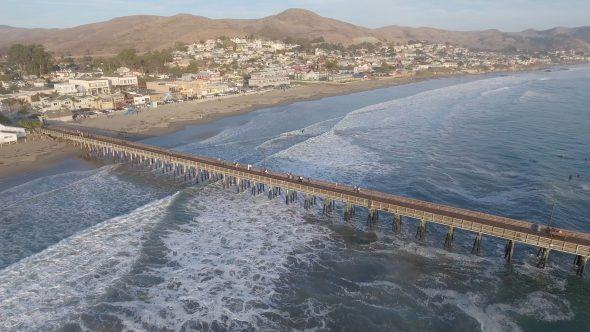 Cayucos, California Shoreline Pier 2 Royalty Free Stock Drone Video Footage