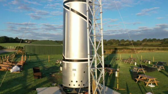 Replica of the British Black Arrow Rocket Royalty Free Stock Drone Video Footage