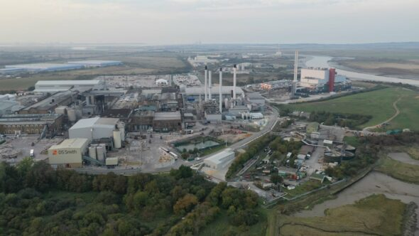 DS Smith Paper Mill  Pan Royalty Free Stock Drone Video Footage