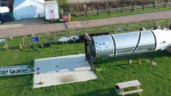 Black Arrow Rocket, Isle of Wight. Royalty Free Stock Drone Video Footage