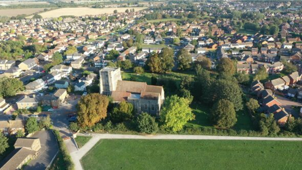 6th Century Church, Kent, UK. Flyby.