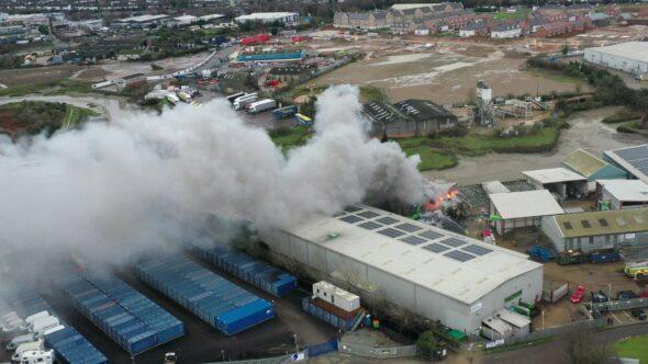 Scrap metal fire at a recycling facility