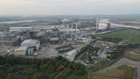 DS Smith Paper Mill Pan, Sittingbourne, Kent UK Royalty Free Stock Drone Video Footage