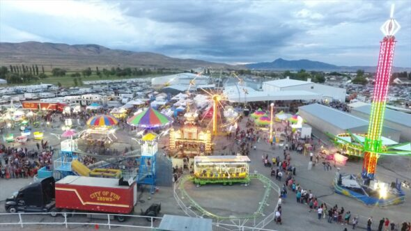 County Fair and Carnival Rides Royalty Free Stock Drone Video Footage