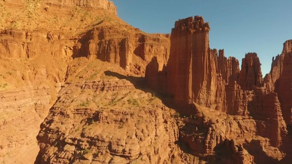 Fisher Towers, Moab, Utah Royalty Free Stock Drone Video Footage