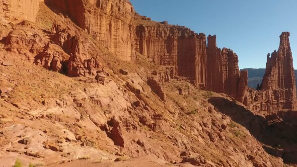 Fisher Towers, Red Rock Formations near Moab Utah Royalty Free Stock Drone Video Footage