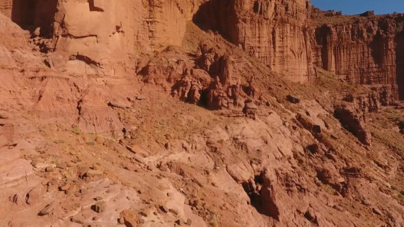Fisher Towers and Colorado River Royalty Free Stock Drone Video Footage