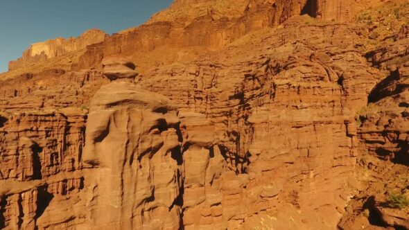 Beautiful Red Rock Formations at Fisher Towers near Moab, Utah Royalty Free Stock Drone Video Footage