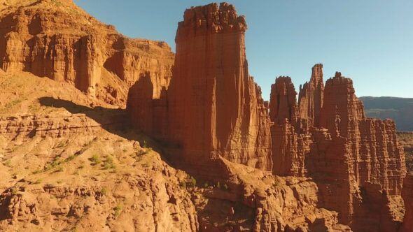 Fisher Towers, Red Rock Formations, Moab, Utah Royalty Free Stock Drone Video Footage